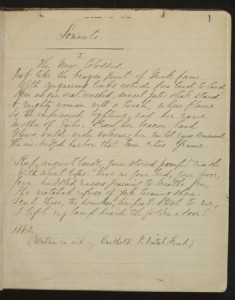 "Manuscript of ""The New Colossus"" by Emma Lazarus; photo credit / The Center for Jewish History, NYC"