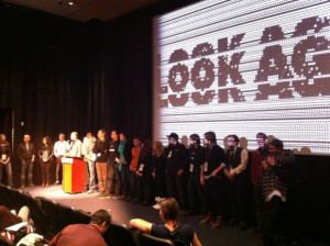 The cast and crew during Q&A after the premiere
