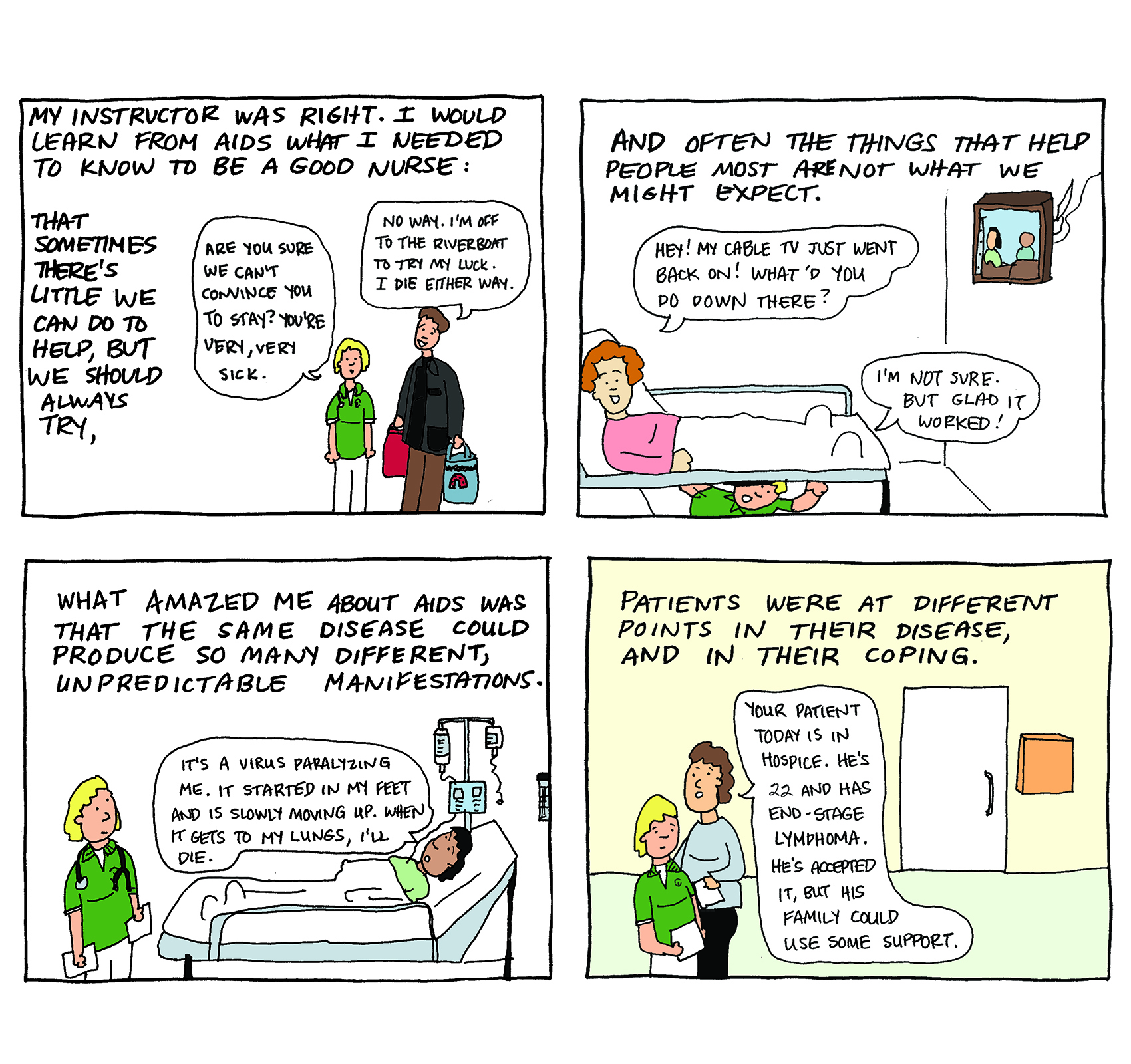 "Comic from ""Taking Turns: Stories from HIV/AIDS Care Unit 371"" by MK Czerwiec"